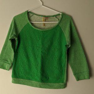 Eyeshadow Lace Front 3/4 Sleeve Shirt Green Small